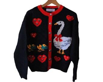 Vintage Duck Cardigan Sweater Women's Petite Medium