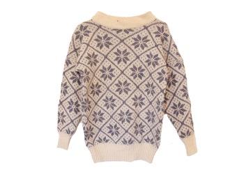 Vintage Icelandic Wool Snowflake Sweater Cream Blue by Hilda Ltd Size XS b6d7b2150