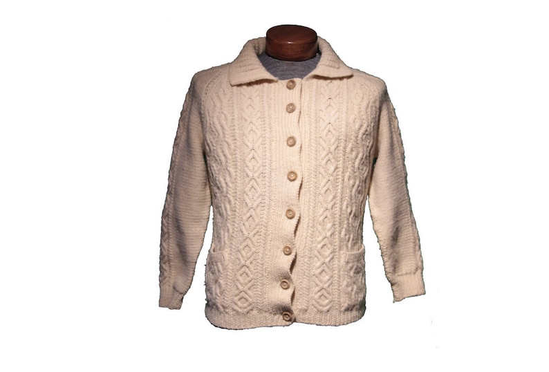Vintage White Cable Knit Fisherman Cardigan Sweater Size Small