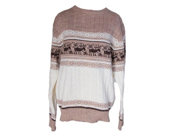 Vintage Reindeer Cableknit Sweater Adult Size Large