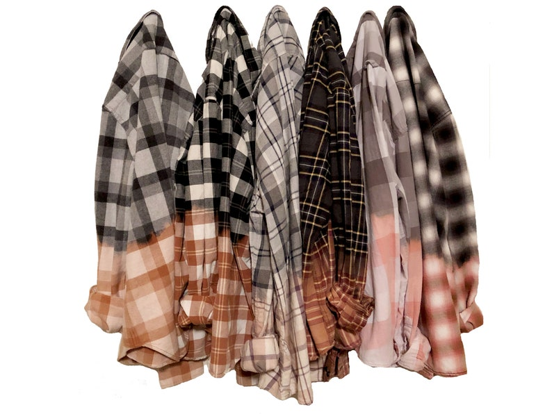 Half Bleached Flannel Shirt Custom Hand Dyed Flannels image 0