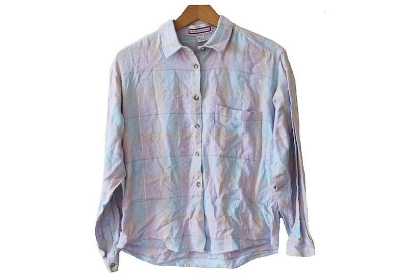 0337ca82cb3c5 Vintage Pastel Flannel Shirt Size Womens Petite Medium