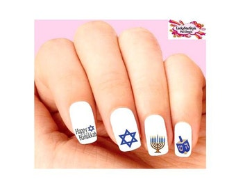 Waterslide Nail Decals Set of 20 -  Jewish Holiday Hanukkah Menorah Dreidel Assorted