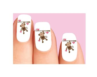 Waterslide Nail Decals Set of 20 - Cute Monkey with Pink Hearts