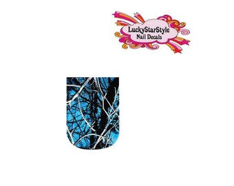 Waterslide Full Nail Decals Set of 10 - Blue Mossy Oak Realtree Camo
