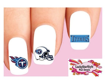 Waterslide Nail Decals Set of 20 - Tennessee Titans Football Assorted
