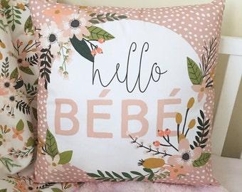 Hello Bebe Pillow. Floral Nursery Decor. Throw Pillow. Home Decor Pillow. 18x18 Pillow Cover. Girl Crib Bedding. Baby Bedding. Crib Skirt.