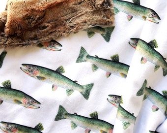 Fish Baby Blanket. Minky Lovey Blanket. Woodland Baby Blanket. Faux Fur Lovey. Fish Baby Bedding. Boy Baby Blanket. Security Blanket.