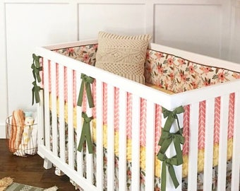 Chevron Bumpers. Girl Crib Bedding.Floral Crib Skirt. Mustard Lace Crib Sheet.Baby Bedding.Monogram Lovey.Ruffle Crib Skirt.Minky Crib Sheet