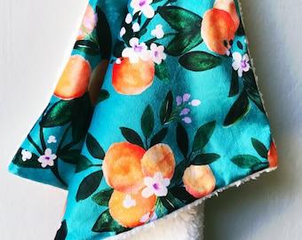 Orange Blossom Baby Blanket. Minky Lovey. Faux Fur Baby Blanket. Security Blanket. Lovie. Throw Blanket. Crib Bedding. Gift Under 100.