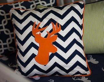 Deer Head Throw Pillow Cover. Home Decor. Woodland Pillow Cover. Hunting Room Decor. Chevron Pillow. 14x14 Pillow Cover. Deer Nursery Decor.