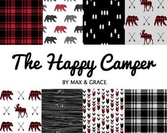 Happy Camper. Bear Crib Bedding. Woodland Baby Bedding. Plaid Crib Skirt. Crib Sheet. Lumberjack Nursery Decor. Minky Blanket. Boy Bedding.
