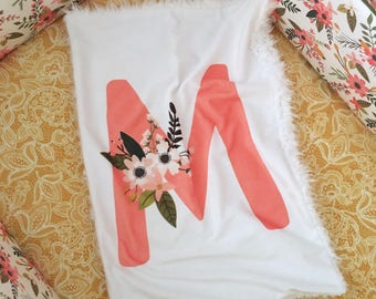 Monogram Lovey. Floral Blanket. Minky Blanket.Faux Fur Baby Blanket.Baby Girl Blanket.Mini Baby Blanket. Gifts Under 50. Coral Floral Lovey.