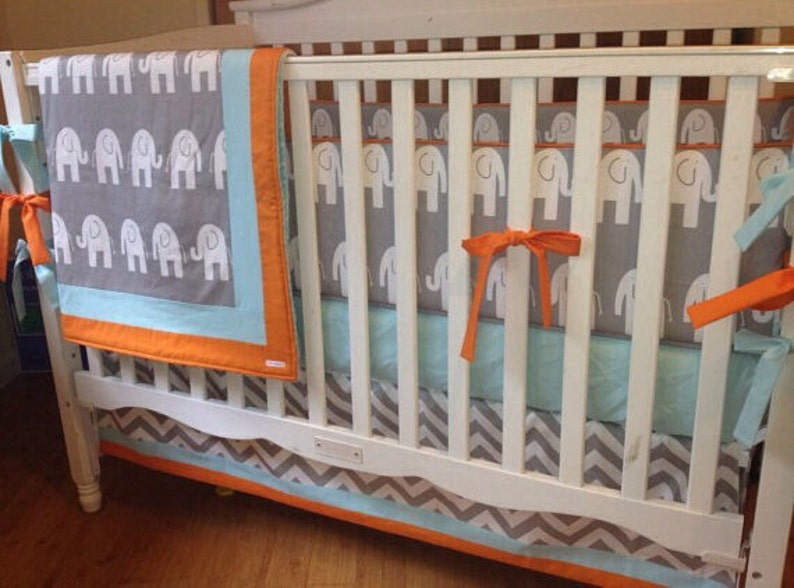 Elephant Crib Bedding Aqua And Orange Bedding Gender Neutral Etsy