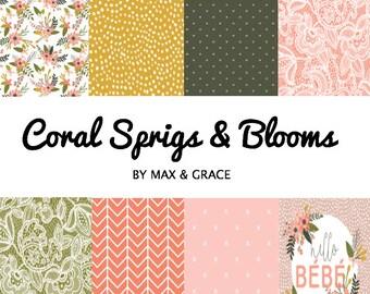 Coral Sprigs and Blooms. Crib Bedding. Nursery Bedding. Crib Set. Girl Baby Bedding. Girl Nursery Decor. Floral Crib Bedding. Crib Sheet.
