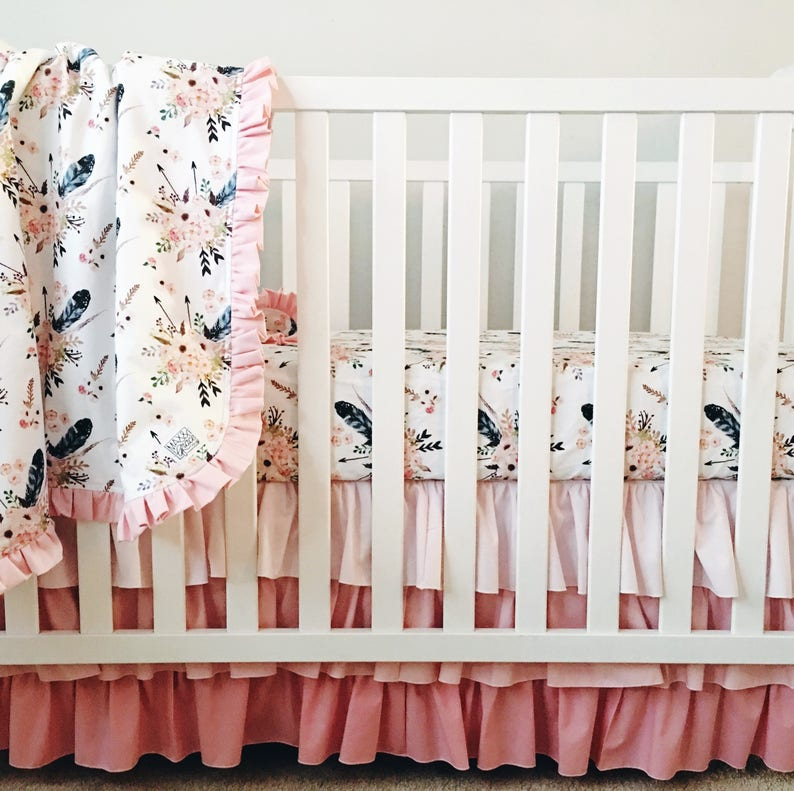 29017d78e2822 Boho Crib Bedding. Feather Crib Sheet. Baby Girl Bedding. Ruffled Crib  Skirt. Ombre Crib Skirt. Boho Crib Sheet. Pink Nursery Bedding.