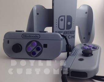 custom joycon set snes style with matching charger grip preorder version 3!