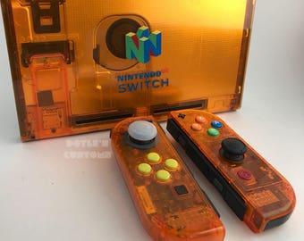 Fire orange n64 inspired joycon and backplate kit