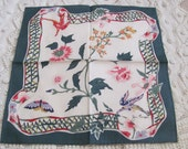 Jim Thompson Hankie Green White Silk Handkerchief Napkin Small Mini Scarf - Signed Designer - New Unused