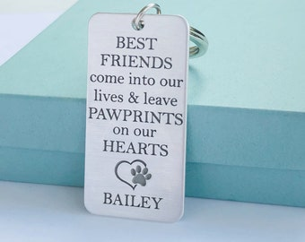 Personalized Pet Name Keychain - Pet Memorial Keychain - Pet Loss Gift - PawPrints On Our Heart - Dog Memorial - Cat Memorial - Paw Prints -