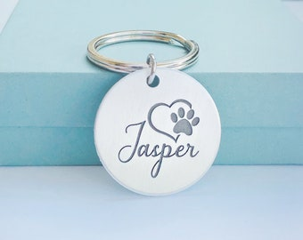 Personalized Pet Keychain Tag - Pet Memorial Gift - Paw Print Heart Keychain - Pet Loss Gift - Pet Bereavement Gift - Cat Dog Loss - Pet Tag