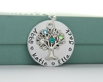 Personalized Mothers Necklace - Moms Birthstone Necklace - Family Tree Necklace - Grandmother Necklace - Mom Grandma Birthstone Necklace -