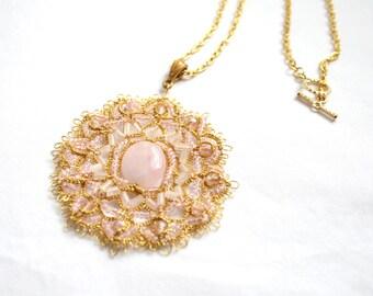 Gold Rose Quartz Beaded Pendant Necklace Tatting Lace Jewelry