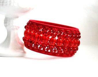 Red Beaded Glass Beads Tatting Lace Large Bangle Bracelet Statement Jewelry