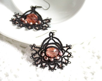Charcoal Crystal Pearl Beaded Tatting Lace Earrings