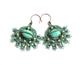 Turquoise Color Magnesite Beaded Tatting Lace Dangle Fan Style Earrings