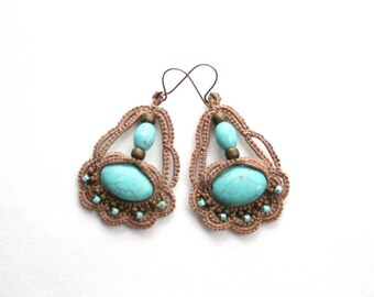 Turquoise Color Mocha Beaded Dangle Style Tatting Lace Earrings