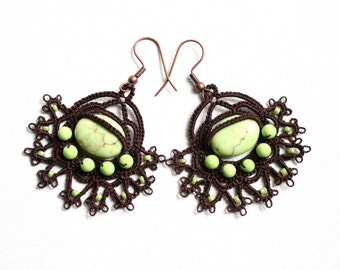 Chocolate Brown Lime Green Magnesite Beaded Tatting Lace Earrings