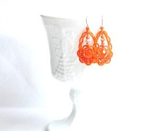 Orange Beaded Chandelier Style Tatting Lace Earrings