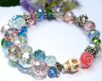 Day of the Dead, Muertos Bracelet, Sugar Skull Bracelet, Crystal Bracelet, Skull Bracelet, Blue Flower, Jewelry