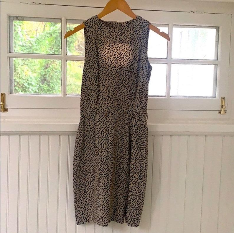 Stunning vintage spotted animal cheetah print silk dress xss