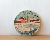 Paint by Number Circle Art Block 'Winter Farm' - red barn, winter landscape, rural, snow