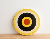 Target #16, Circle Art Block, Wall Art, Circle Wall Decor, Target Art, Bull's Eye Art, Archery Target Art  - Yellow/White /Black/Red