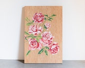 Paint by Number Style Original Painting on Wood, 'Vintage Roses', retro art, pink roses
