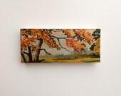 "Paint by Number style X-Large *FINISHED Art Block 'Autumn Scene', 6"" x 14"" - fall color, autumn landscape, vintage landscape, art on wood"