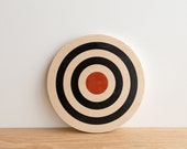 Target #18, Circle Art Block, Wall Decor - White/Black/Red - archery target, bull's eye