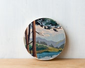 Paint by Number style *FINISHED Circle Art Block 'Mountain View' - woodland, landscape, vintage paint by number art