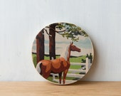 Paint by Number style Circle Art Block 'Ranch Horse' - horse farm, brown horse, vintage art