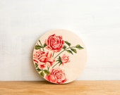 Paint by Number style *FINISHED Circle Art Block 'Pink Roses' - vintage floral art, vintage roses, art on wood, wall art, girls room