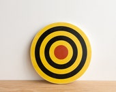 Target #15, Circle Art Block, Wall Art, Circle Wall Decor, Target Art, Bull's Eye Art, Archery Target Art - Yellow/Black/Red