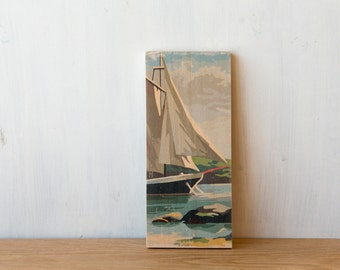 Paint by Number Art Block 'Sailboat' Vertical - sailing, seascape, vintage art