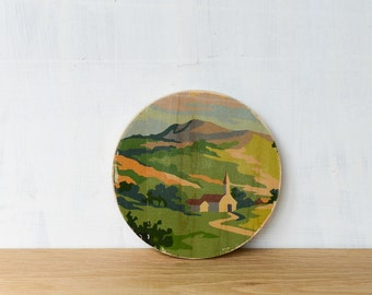 Paint by Number Circle Art Block 'Country Chapel' - church, pastoral, landscape, vintage art