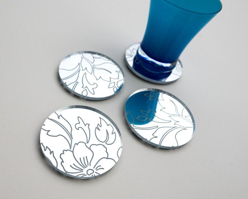 drinkware Floral Pattern Mirror Coasters engraved mirror barware housewarming hostess gift Set of 4