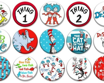"""1"""" - DR. SEUSS -  Lot of 15 Buttons - Pin Back Button Badge"""
