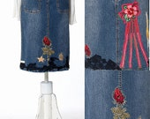 SHIP NOW, Skirt Fashion, Handmade Chic Embroidered Skirt, Denim Skirt