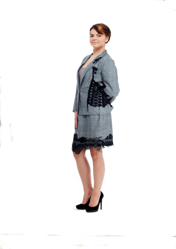 Womens Dress Suit Two Piece Suit Altered Couture Skirt